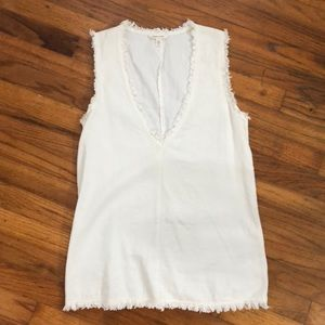 Off white, fringe Urban Outfitters top